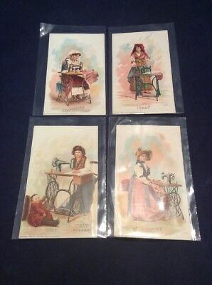 Lot of 4 ANTIQUE 1892 Italian The Singer Manufacturing Co. Trade Cards (aC)