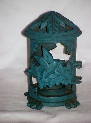Vintage Japanese Style Cast Iron Green Pagoda Lantern With Bird Design Tabletop