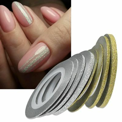 1Rolls Nail Art Glitter Gold Silver Stripping Tape Line Strips Tools Nail Sticke