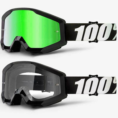 2018 100% Percent Strata Mx Motocross Goggles Outlaw Green Mirror / Clear Lens