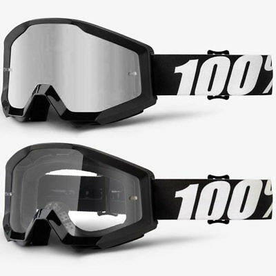 2018 100% Percent Strata Mx Motocross Goggles Outlaw Silver Mirror / Clear Lens