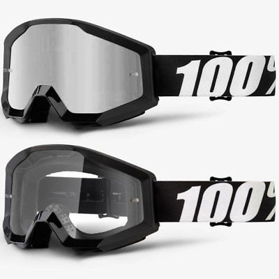2019 100% Percent Strata Mx Motocross Goggles Outlaw Silver Mirror / Clear Lens