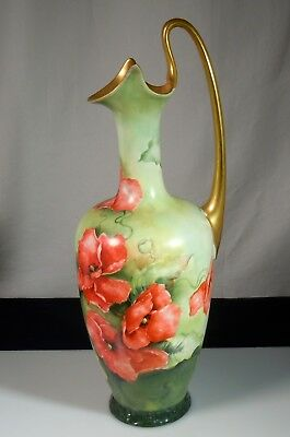 Limoges Porcelain 1909 Exhibited Seattle Expo Red Poppies Ewer Pitcher
