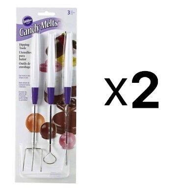 Wilton Set Of 3 Candy Melts Stainless Steel Dipping Tools, 1904-1017 (2-Pack)