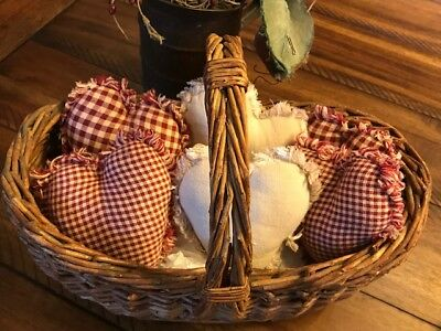 New Homespun Plaid Ornies Bowl Fillers PrImITive Hearts Red Burgundy Valentine's