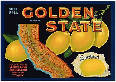 Lemon Crate Label Golden State California Map Glossy 1940S Vintage Genuine