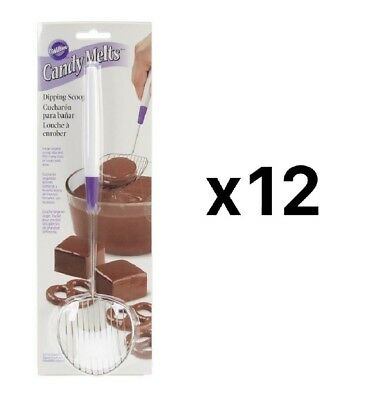 Wilton Candy Melts Treats Stainless Steel Chocolate Dipping Scoop Tool (12-Pack)