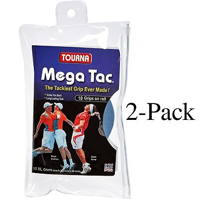 Unique Tourna Mega Tac Tennis Racket Replacement XL Grip  Blue, 10-Pack (2-Pack)