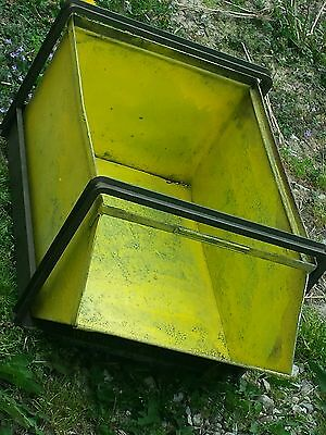 VINTAGE STACKBIN INDUSTRIAL STACKABLE STORAGE FACTORY BINS RECLAIMED yellow