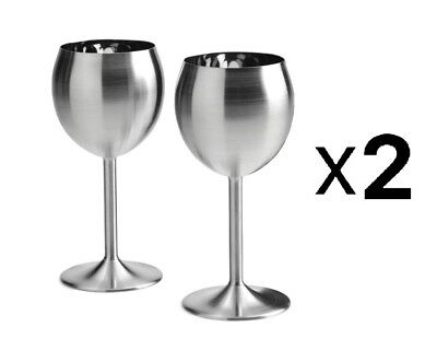 RSVP 8Oz Stainless Steel Wine Glasses/Goblets Set Of 2 Red White (2-Pack)