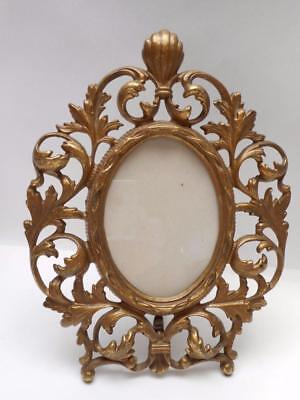 Beautiful Antique Victorian Gold Gilded Cast Iron Picture Frame - No Damage