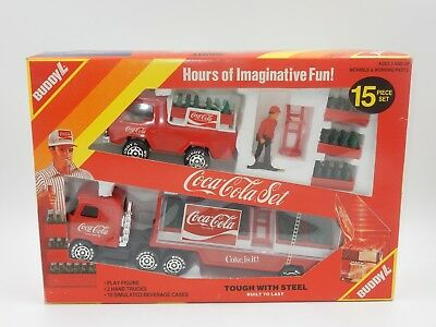 Coca Cola Set Buddyl 15 Piece Coke Truck Tractor Trailer Delivery Set