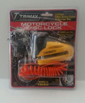 Trimax T665LY Hardened Metal Disc Lock - Yellow 10mm Pin