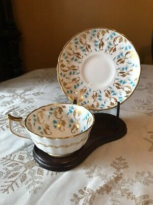 Vintage Royal Chelsea Tea Cup & Saucer Hand Painted Blue / Gold Flowers