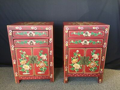 Vintage Pair of Small Chinese Hand-painted Lacquered Cabinets