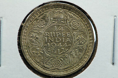 1944-B Reverse B British India Quarter 1/4 Rupee KM 547