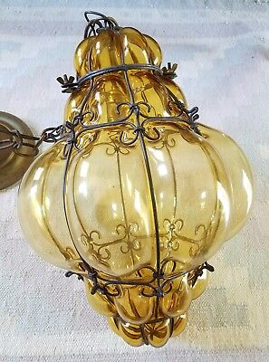 MURANO SEGUSO NICE caged lantern pendant light chandelier amber hand blown 60's