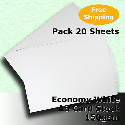 100 Sheets Economy Card Stock WHITE A3 Size 150gsm #H5168