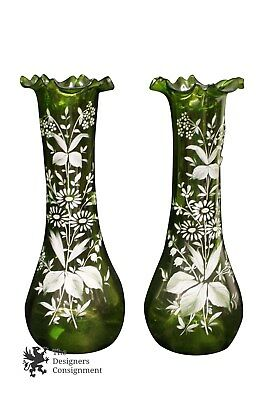 """2 Stunning Vintage Hand Blown Green Glass Ruffled 13"""" Vases Floral Painted"""