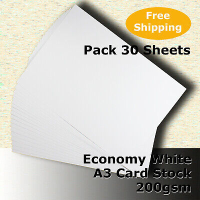 30 x Economy WHITE 200gsm A3 Size Card Stock General Purpose #H5268 #HHHJ