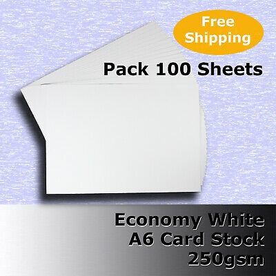 100 Sheets Economy Card Stock WHITE A6 Size 250gsm #H5302 #D1