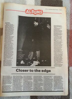 JOY DIVISION 'Closer' album review 1980 ARTICLE / clipping