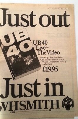 UB40 Live 1983 UK Poster size Press ADVERT 16x12 inches
