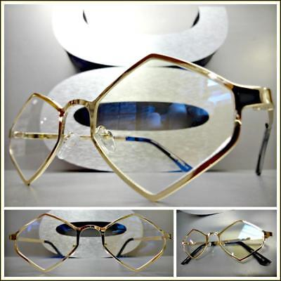 Mens VINTAGE RETRO Style Clear Lens EYE GLASSES Gold Diamond Shape Hexagon Frame