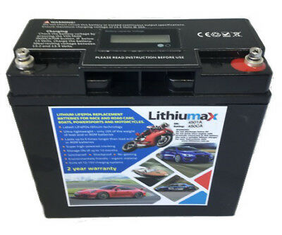 Lithiumax NEW 450CCA Lithium LiFePo4 Car,Boat,Bike Starter Battery with Volt LCD