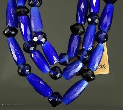Antique Native American Russian Blue Faceted Old Trade Beads Indian Artifact OR