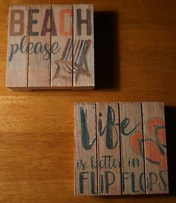 BEACH PLEASE & LIFE IS BETTER IN FLIP FLOPS Mini Coaster Home Decor Sign Set NEW