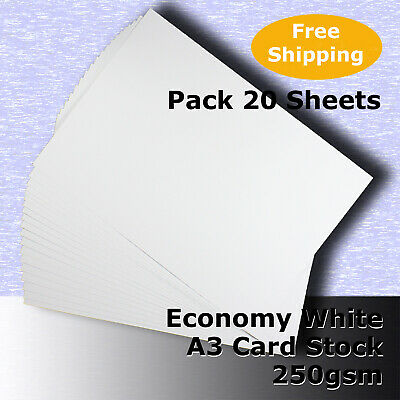 20 Sheets Economy 250gsm WHITE A3 Size Blank Card Stock G Purpose #H5368 #HHHH