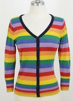 Cute Rainbow Stripe Sweater Cardigan, Highly Color Saturated, S-L, By MAK: 078R