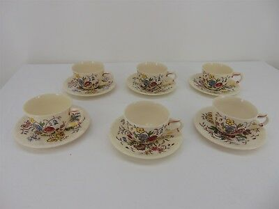 Set of 6 Mayflower Vernonware Kilns Glaze Hand Painted Tea/Coffee CUPS & SAUCERS