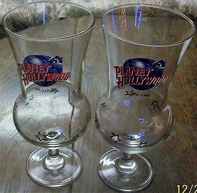 2 Planet Hollywood Hurricane Glasses 1 New York 1 St. Louis