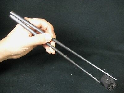 Antique Japanese Hibashi Silver Fire Chopsticks Pine Needles
