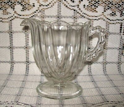 SMALL VINTAGE CLEAR GLASS PEDESTAL JUG with scalloped edge, bauble handle 10cm