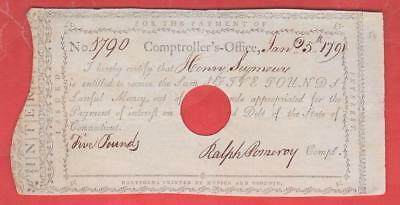 1791 5 Pound Note Comptroller's Office - CT Obsolete