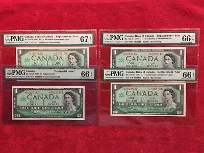 Bank of Canada 1967 1 Dollar Replacement/Star (4) Complete Set PMG 66 & 67 EPQ