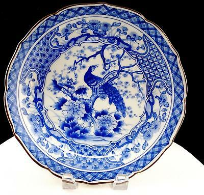 """Japanese Signed Imari Peacock Blue And White Scalloped 10"""" Shallow Serving Dish"""