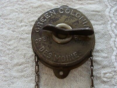 Antique Stove Furnace Damper Control & Chain Green Colonial Vintage Dial