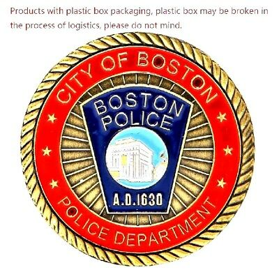 City of Boston Police Department Challenge Coin Color Art