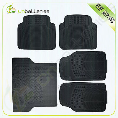 5pc Set All Weather Rubber For Volkswagen Ford BMW Floor Mats + Cargo Line Black