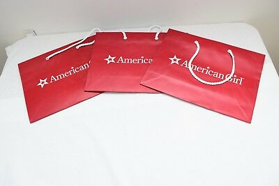 Lot of 3 American Girl Doll AG Place Empty Red White Paper Shopping Gift Bags