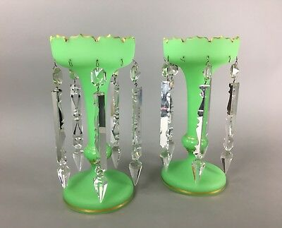 Large Antique Green Opaline & Gilt French Empire Cut Glass Mantle Luster Pair