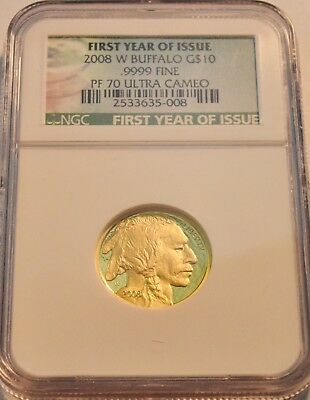 2008 W $10 NGC PF 70 American Gold Buffalo PROOF 1/4 oz. Ounce Coin Scarce Issue