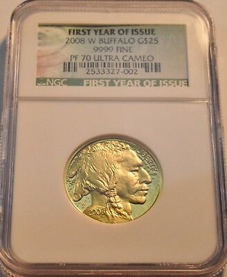 2008 W $25 NGC PF 70 American Gold Buffalo PROOF 1/2 oz. Ounce Coin Scarce Issue