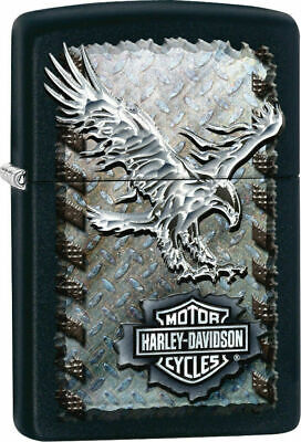 Zippo Harley Davidson Black Matte LIghter, Iron Eagle, #  28485, New In Box