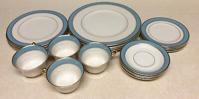 Syracuse China Edmonton Old Ivory Porcelain 20 Pcs Dinner Set Of 4 Blue Gold Rim & SYRACUSE CHINA EDMONTON Old Ivory Porcelain 20 Pcs Dinner Set Of 4 ...