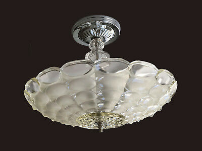 Clear Frosted Optic Glass Shade Vintage 1940's Art Deco Ceiling Light Fixture
